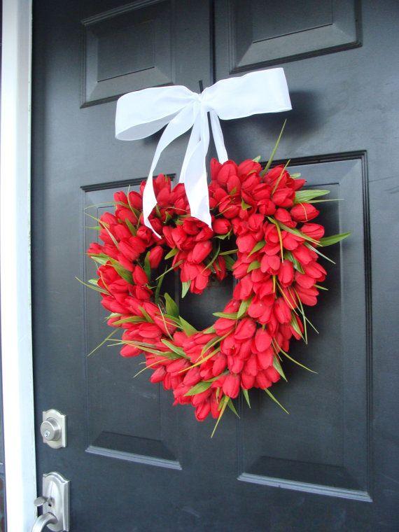 Red Tulip Heart Wreath  Valentine's Day Wreath  I LOVE YOU  Decor  Valentines Day Gift  Wedding Gift Wedding Decor Spring Wreath on Etsy, $65.00