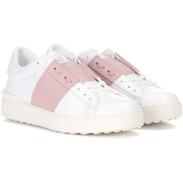 Valentino Valentino Garavani Open Leather Sneakers (1,100 BAM) ❤ liked on Polyvore featuring shoes, sneakers, white, white shoes, white leather sneakers, white sneakers, leather trainers and leather shoes