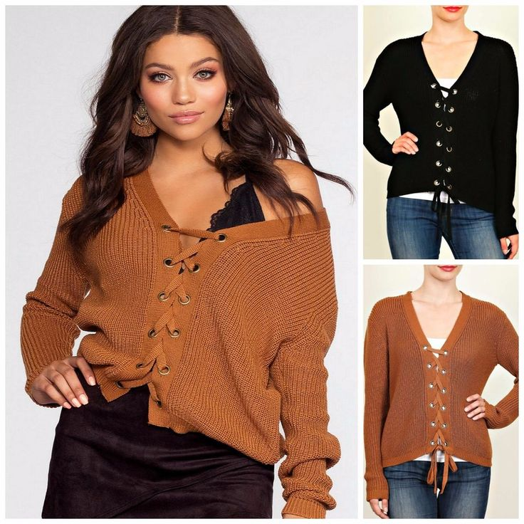 LOVETREE Plus Cozy Lace Up Front Long Sleeve Cable Knit Sweater 2 Colors! 1X-3X #LoveTree #PulloverLaceUpCardigan