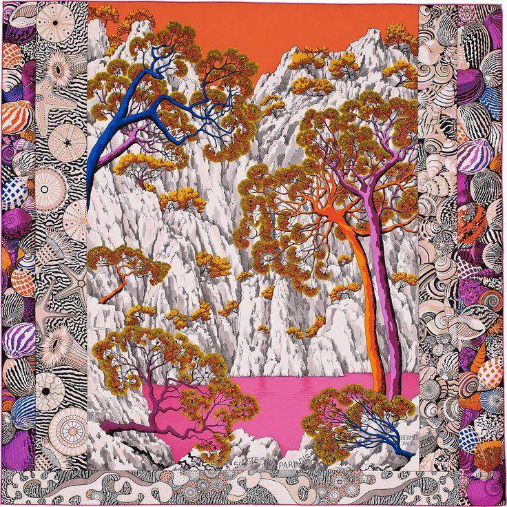"2015 FW | Sieste au Paradis | Silk twill scarf, hand rolled, 36"" x 36"" (100% silk) | Aline Honoré | Ref. : H002955S 08 Orange/Rose Vif | $395.00"
