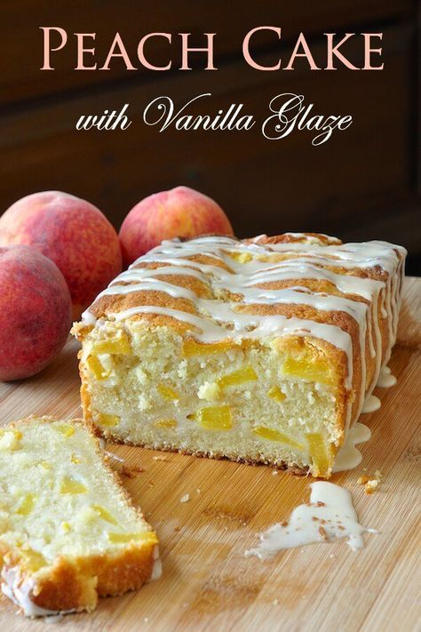 Peach Cake with Vanilla Glaze – delicious served warm with a scoop of ice cream or cold as a picnic basket favourite, this summer cake is sure to please. #Summerbaking #loafcake #Glaze