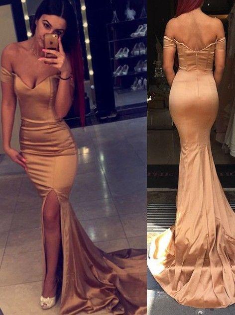 Buy Elegant Off-the-shoulder Mermaid Long Prom Dress with Side Slit 2016 Prom Dresses under US$ 128.99 only in SimpleDress.