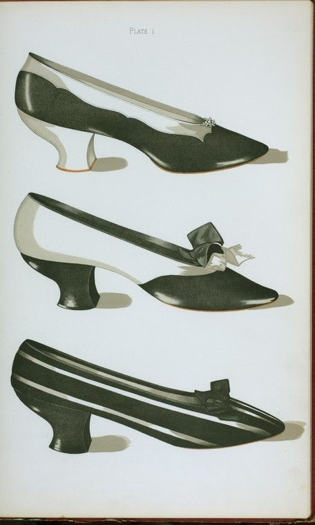 """1900 Three shoes in """"Magpie"""" colors : the first two in kid, the third in black and white velvet"""