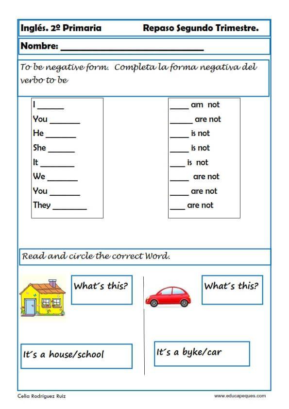 Fichas de inglés segundo de primaria (Actividades y