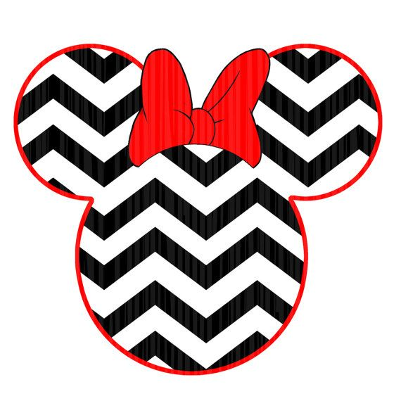 Instant Download - Minne Mouse inspired DIY Printable Iron On Transfer Digital File - Minnie Mouse head silhouette Chevron Print.  Great decal to add to shirts, backpacks, shopping bags. What better way to show your love of Mickey  and Minnie Mouse. Only $2.00!