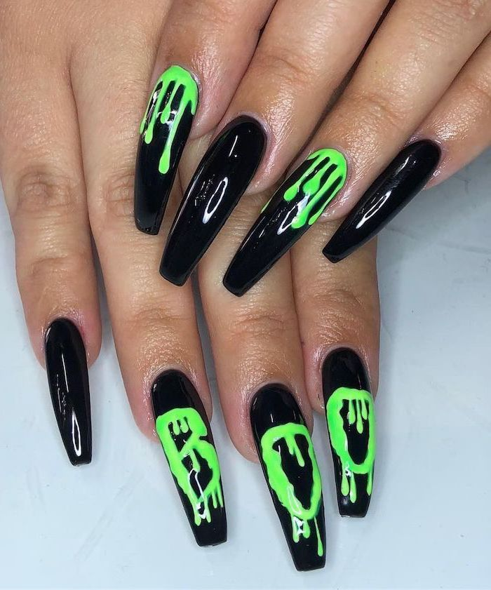100 Halloween Manicures You Need To See And Try Halloween Acrylic Nails Holloween Nails Best Acrylic Nails