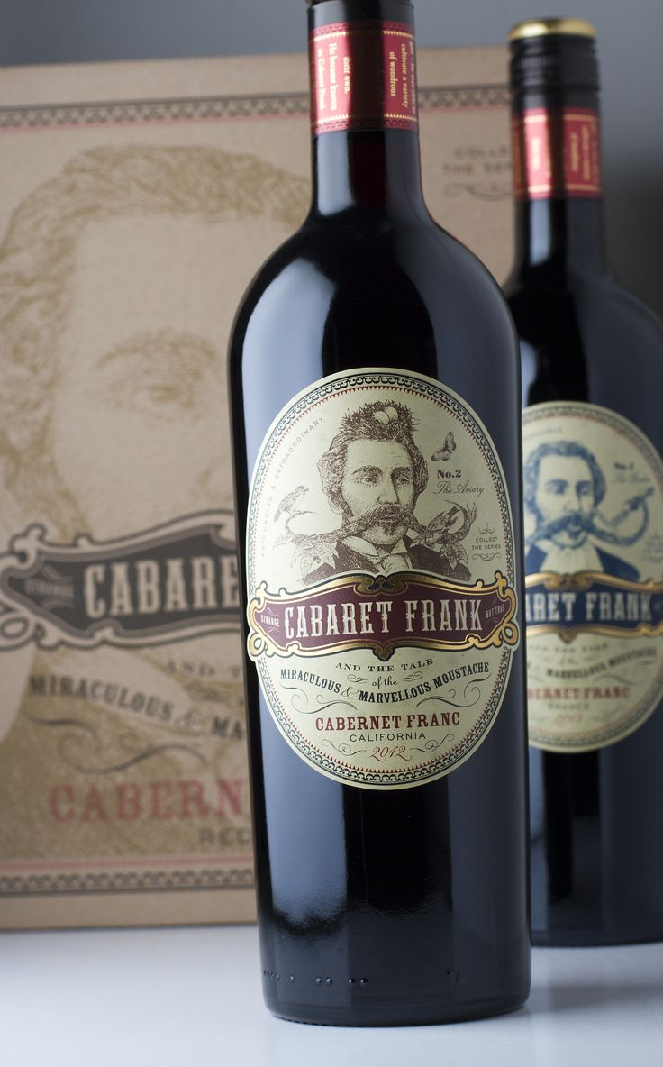 Cabaret Frank – Series of Cabernet Franc wines from different countries, each featuring a different weird and wonderful performing moustache.