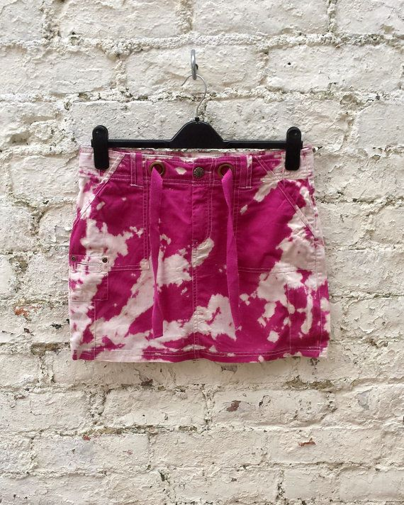 Mini Skirt Hot Pink Grunge Cargo Style Bleach Tie Dye to fit UK Size 10 or US size 6 Tumblr Hipster Skirts