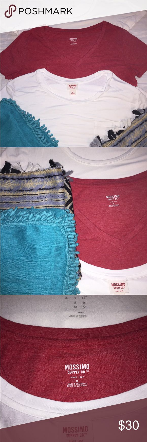 T-Shirt and Scarf Bundle🖤 Bundle of three t-shirts and two scarves! ⭐️Two Mossimo Supply Co. t-shirts, a red v-neck and a white scoop neck! Very lightly worn! Both size M! ⭐️One white scoop neck a•n•d t-shirt that is so soft and comfortable! Very lightly worn! Size S! ⭐️Blue scarf with adorable tassel-like lining on the edge! Can be worn many ways and is such a cute addition to any outfit! ⭐️Multicolored, patterned infinity scarf with black, gray, and white tassels on the edge! So cute and…