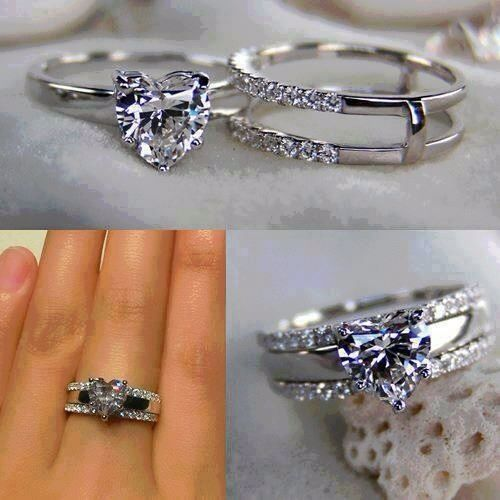 The Heart Cut Is Stupid But Way Ring Fits Into Band Simply Wedding RingsHeart Shaped Engagement