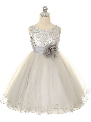 New Arrivals :: Beaded Dress with Tulle skirt and Pin-on Flower - Flower Girl dresses, Junior Bridesmaid dresses, First communion