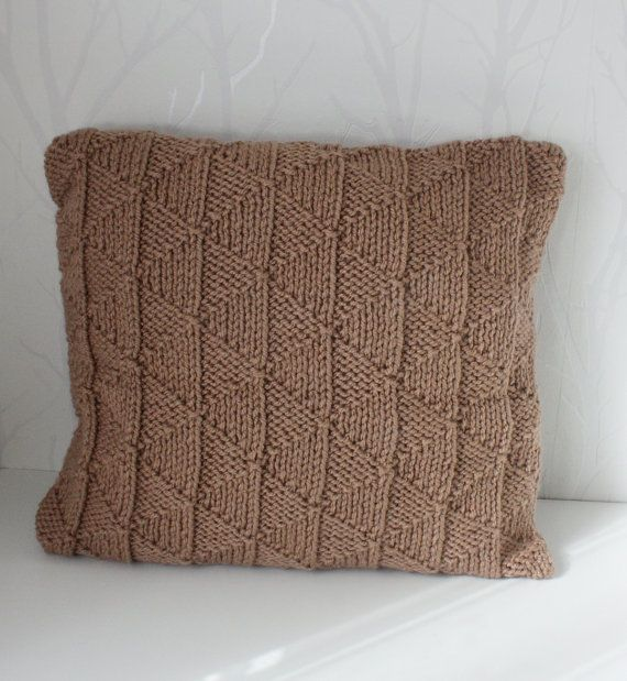 Hand knitted sweater pillow cover Knit cushion by CreamKnit