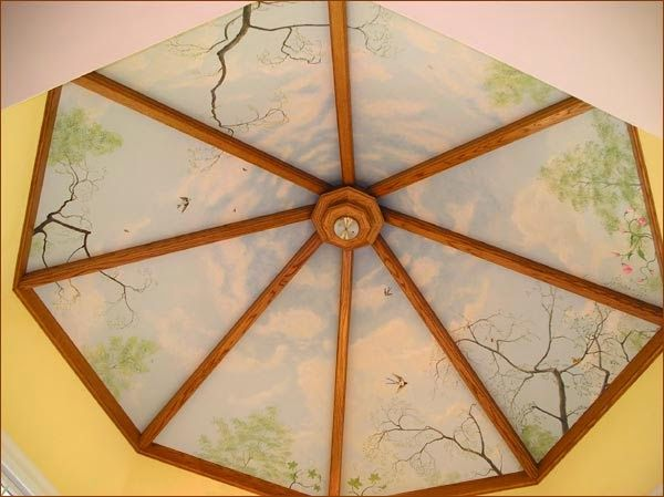 circular false wood and glass ceiling for bedroom
