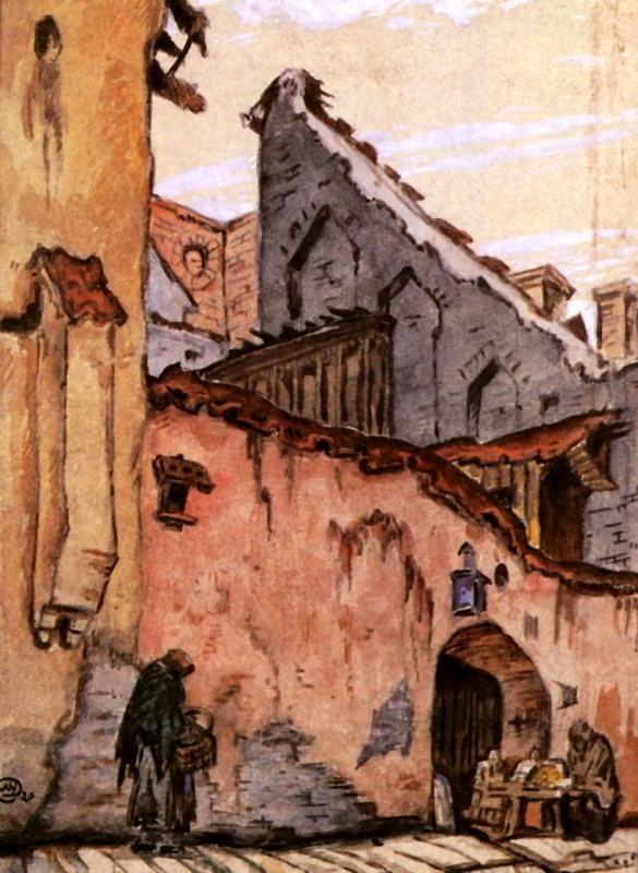 Mstislav Dobuzhinsky (Мстислав Добужинский), Вильно. Старая стена. (Vilno. Old Wall), 1907
