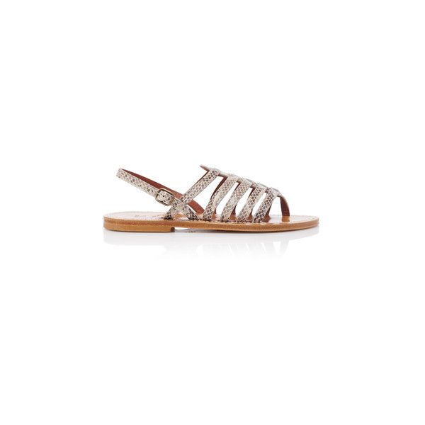 K Jacques St Tropez Homere Sandals (4,210 MXN) ❤ liked on Polyvore featuring shoes, sandals, grey, grey leather sandals, open toe leather sandals, caged sandals, ankle strap shoes and grey shoes