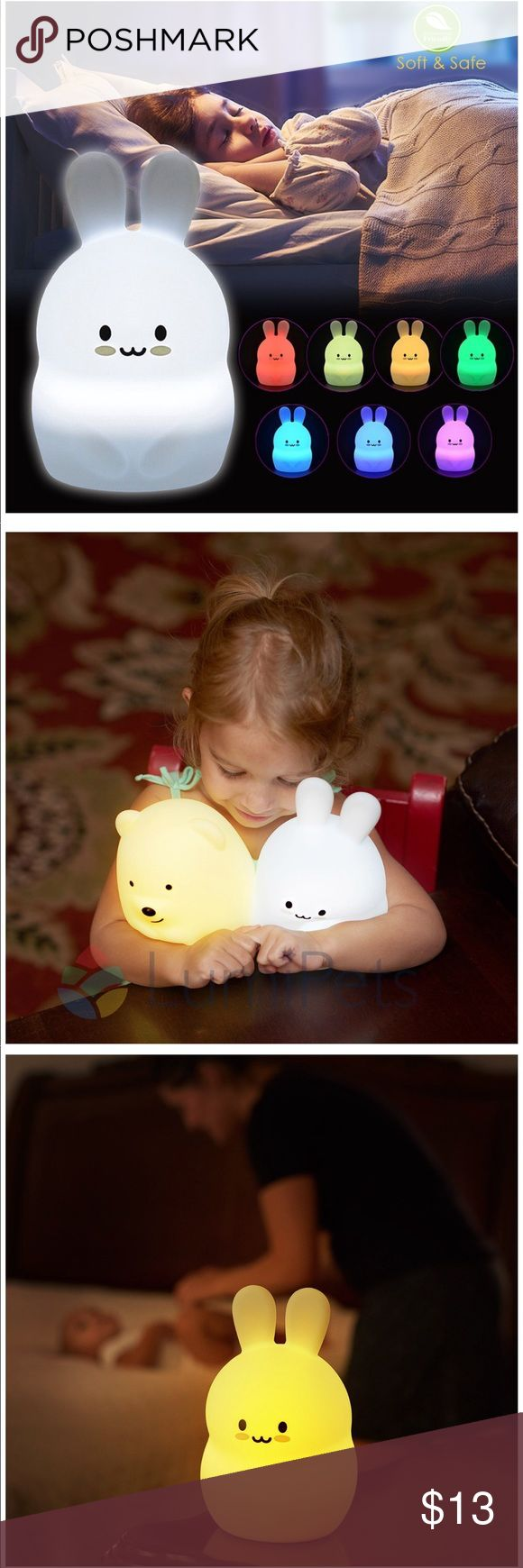Nursery Night Lamp ✭ Eco friendly and high quality none toxic soft washable silicone + ABS material safe for babies and toddlers. No sharp parts ✭ Portable design and handheld size.  ✭ Vibration sensor allows easy control of lights on tap.  ✭ kids love these super cute adorable faces! Makes a perfect baby shower gift!  ✭ Built in 1200mAH lithium battery supports portable usage all night. No need to replace batteries and doesn't get hot. Micro USB charge point on the side for upright…