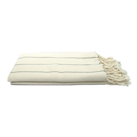 Off White Fouta Herringbone Vertical Striped Towel