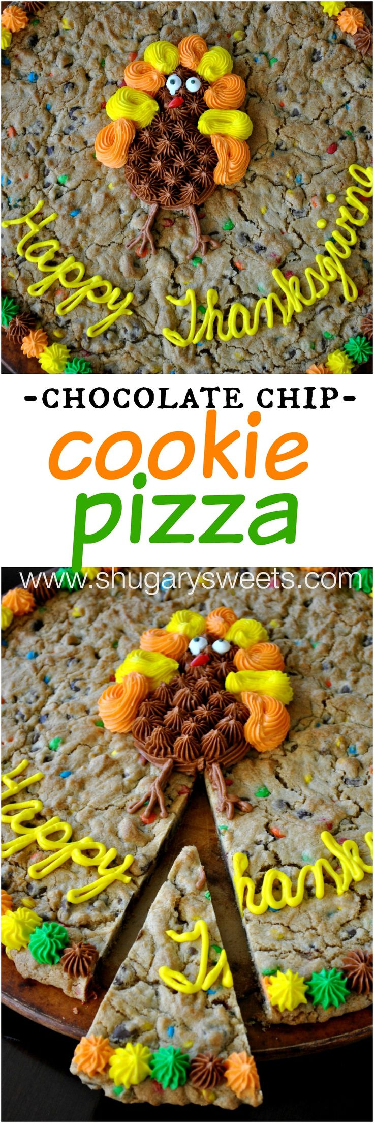 Chocolate Chip Cookie Pizza: celebrate the holidays with a delicious, homemade cookie cake!