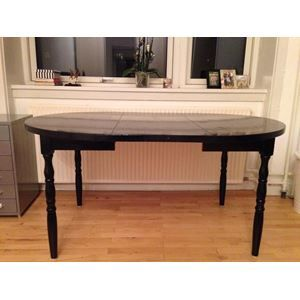 Spisebord, Træ m. sort lak, b: