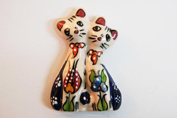 Cats Handmade Turkish Ceramic Magnet by TheGrandBazaar on Etsy, $5.00