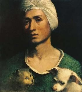 Dosso Dossi - Portrait of a Young Man With a Dog and a Cat