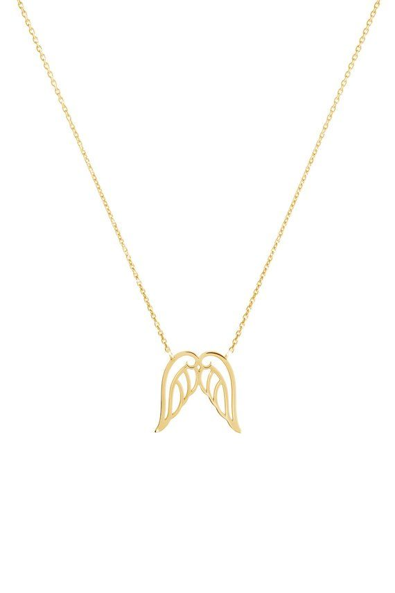 Gold Angel Wings Charm Necklace 9k 14k 18k Gold Necklace Yellow Gold Solid Gold Wings Pendant Dainty Gift For Daughter Everyday Jewelry In 2021 Gold Angel Wings 18k Gold Necklace Jewelry