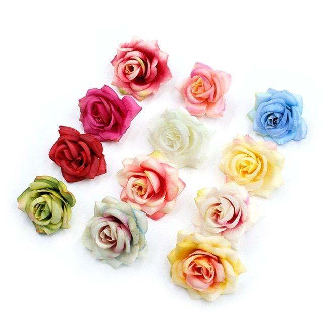 10pcs Lot 6cm Artificial Flower High Quality Silk Rose Head Wedding Home Decoration Diy Flower Wall Scrapbook Gif Diy Flower Wall Silk Roses Artificial Flowers
