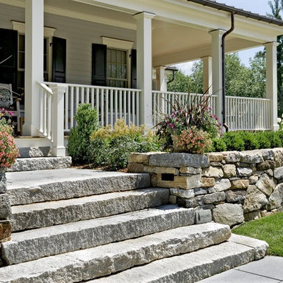 stone step ideas for the front of the house for when the railway ties give out