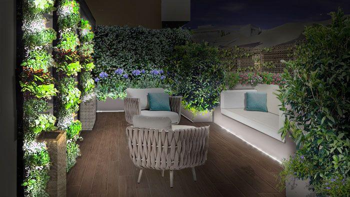 Il progetto del terrazzo - area relax, poltrone, muri verdi