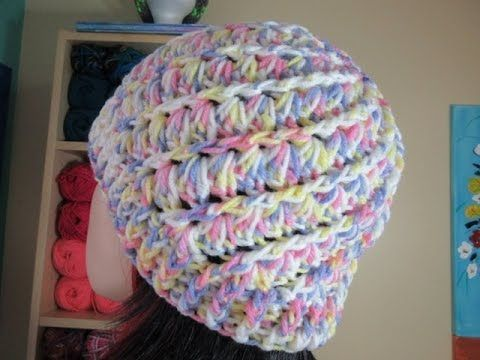 Get the Tutorial for this Pretty Hat – Design Peak Variegated yarn for a crochet beanie