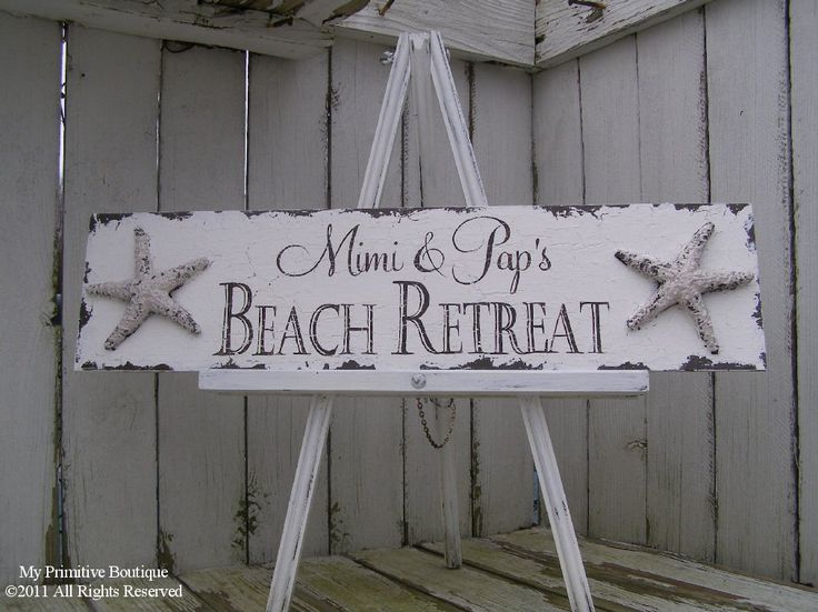 vintage beach decor and signs | BEACH WEDDING SIGN, Beach House Sign, Starfish Design, 24x6, Custom ...