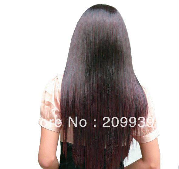 Кк 0084 Мода Темно-Коричневый Женщины Длинные Природный Мода Полный Прямо Здоровые Волосы Парик
