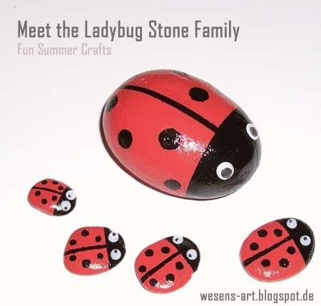 Summer Craft Party :: DIY Painted Stones :: Meet the Ladybug Family :: + linky party