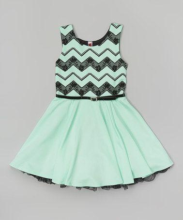 Love this Mint Chevron Lace Belted Dress - Girls on #zulily! #zulilyfinds
