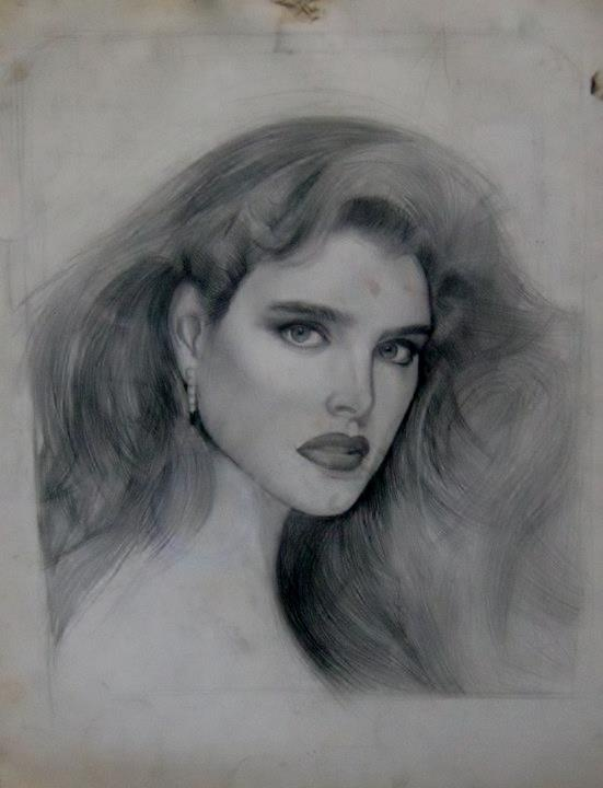Brooke Shields,graphite on paper by Paul Davison