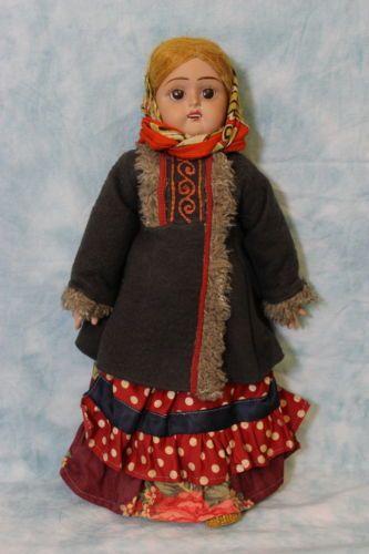 Редко-15-русская-женщина-Кукла-роспись-Терра-Котта-все-оригинал-этно-костюм-1930