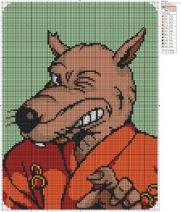 Teenage Mutant Ninja Turtles Winking Splinter cross stitch» Birdie Stitching