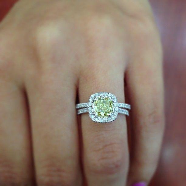 Canary Yellow Radiant Cut Diamond in a diamond Cushion Halo Wedding Set by Princess Bride Diamond in Huntington Beach, Ca