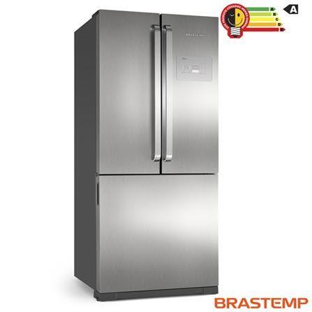 Refrigerador Side by Side Inverse Brastemp de 03 Portas Frost Free com 540 Litros Inox e Cinza - BRO80AK, 110V, 220V, Inox, Acima de 500 litros, 540 Litros, 166 Litros, 374 Litros, Não especificado, Sim, Não, Sim, 03 Portas, Freezer Invertido, A