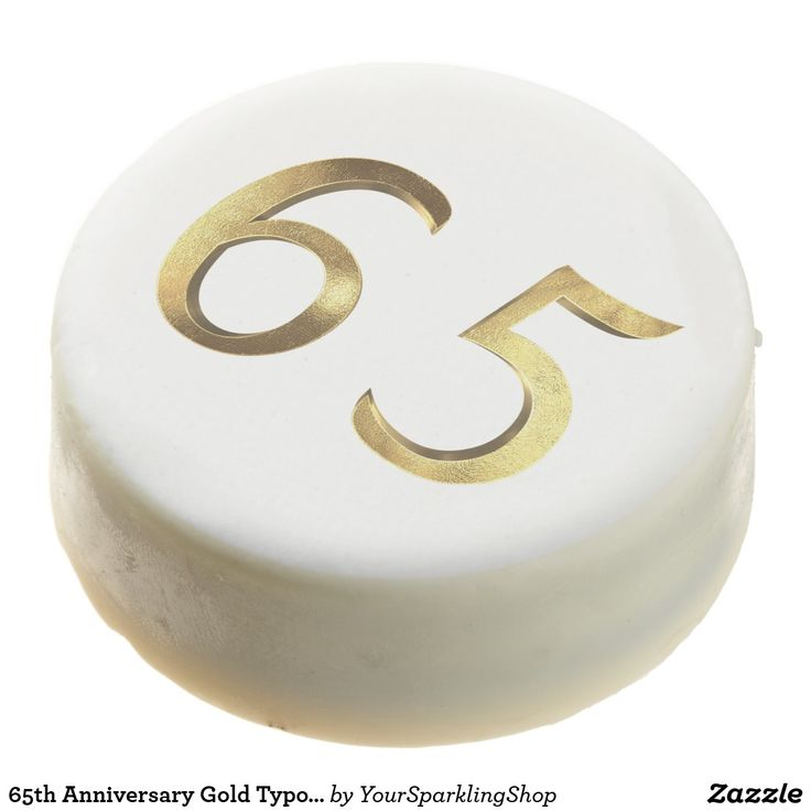65th Anniversary Gold Typography Elegant Chocolate Dipped Oreo