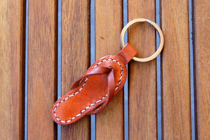 Handmade Sandal Leather Keychain Keyring Keyfob by RitsandRits on Etsy https://www.etsy.com/listing/163387990/handmade-sandal-leather-keychain-keyring