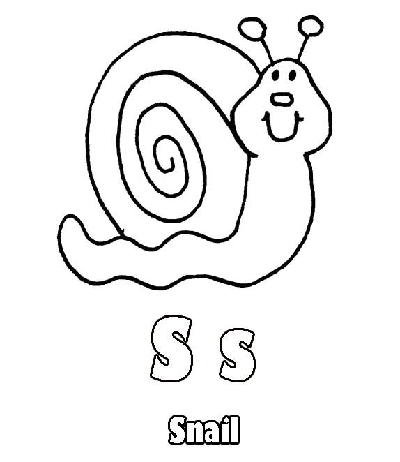 S For Snail Coloring Pages Kids