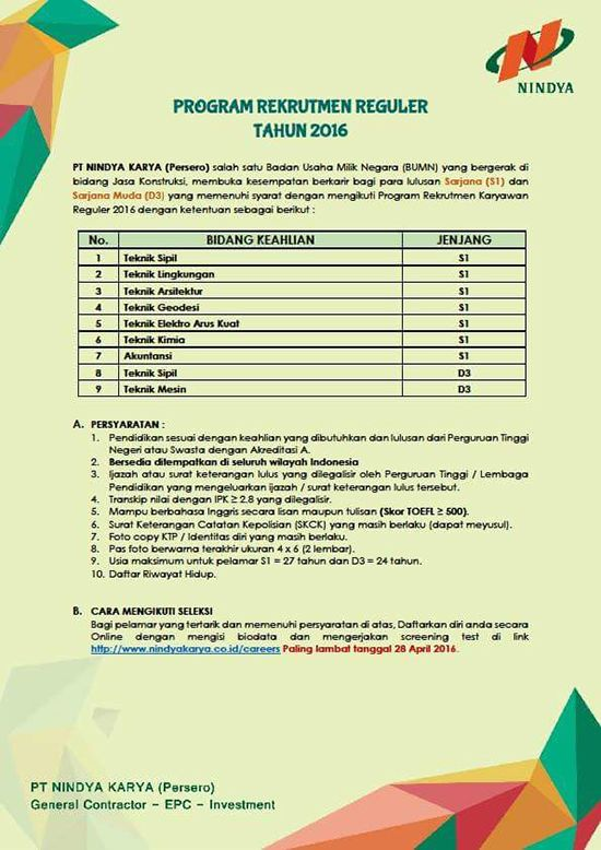 Lowongan kerja arsitek april 2016 PT. Nindya Karya ~ Teknologi Konstruksi Arsitektur