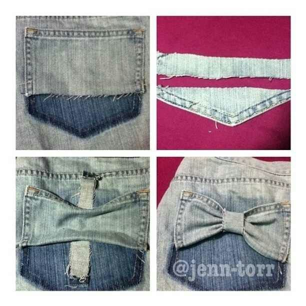 DIY teen shorts turn ur denim short back pockets into cute Bows!