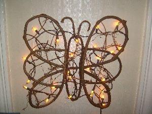 """Twig butterfly w/lights~10"""" wide~$22"""