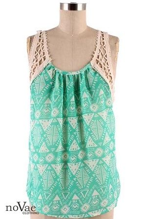 cute summer top! #mint #aztec