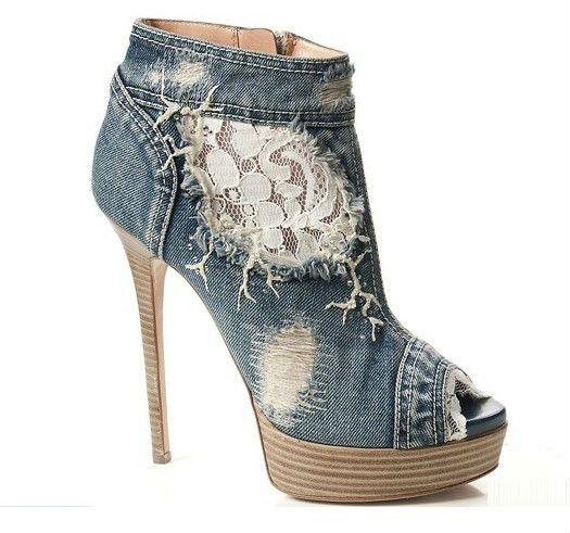 голубые джинсы кружева пип ног способов женщин высокий каблук ботинки лодыёки сапоги груза падения-Ботинки к платью-ID продукта:734264173-russian.alibaba.com