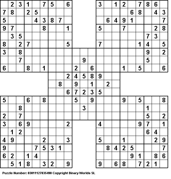 Samurai Sudoku puzzles - I love doing the Samurai Sudoku puzzle in the Sunday Washington Post.  HUGE challenge some weeks!