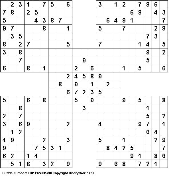 Handy image for samurai sudoku printable