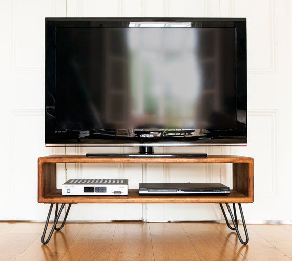 Iroko midcentury modern tv stand credenza with raw iron for Table tv moderne